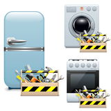 Vector Household Appliance Repair Icons Stock Images