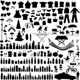 Vector household items set. Miscellaneous household, clothes and others vector objects Stock Images