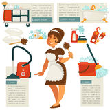 Vector housemaid and cleaning supplies. Royalty Free Stock Photography