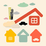 Vector Houses and Cars Royalty Free Stock Photo