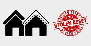 Vector Houses Icon and Grunge Stolen Asset Stamp. Vector houses pictogram and Stolen Asset stamp. Red rounded scratched stamp with Stolen Asset text. Vector stock illustration