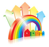 Vector houses, rainbow and arrows Royalty Free Stock Images