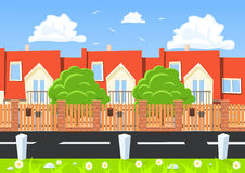 Vector houses in a row beside the road Stock Photos