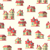 Vector houses seamless pattern background Royalty Free Stock Photos