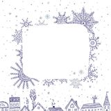 Merry Christmas frame for text with houses in snowy city stock illustration