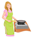 Vector of housewife preparing food. Stock Image