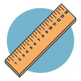 Vector houten heersers in centimeter die op blauwe achtergrond worden ge?soleerd vector illustratie