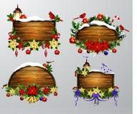 Vector houten Kerstmisraad Stock Foto's