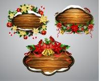 Vector houten Kerstmisraad Royalty-vrije Stock Foto's