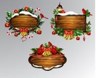 Vector houten Kerstmisraad Stock Foto
