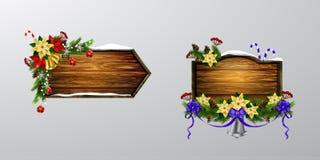 Vector houten Kerstmisraad Stock Afbeelding