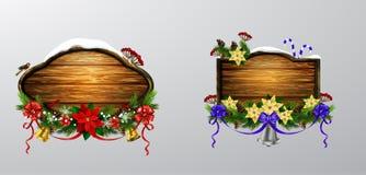 Vector houten Kerstmisraad Royalty-vrije Stock Afbeeldingen