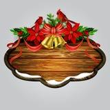 Vector houten Kerstmisraad Stock Afbeeldingen
