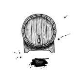 Vector houten vat Hand getrokken uitstekende illustratie in engrav Royalty-vrije Stock Foto's