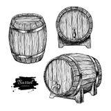 Vector houten vat Hand getrokken uitstekende illustratie in engrav Stock Fotografie