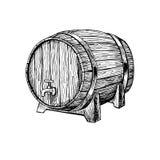 Vector houten vat Hand getrokken uitstekende illustratie in engrav Stock Foto
