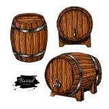 Vector houten vat Hand getrokken uitstekende illustratie in engrav Royalty-vrije Stock Afbeeldingen