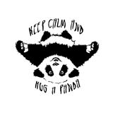 Vector hug panda. Funny and touching panda wants to hug and cuddle. keep calm and hug a panda Stock Photo