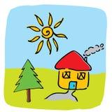 Vector huisillustratie Royalty-vrije Stock Afbeeldingen