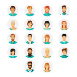 Vector human avatar set in modern flat style Royalty Free Stock Image