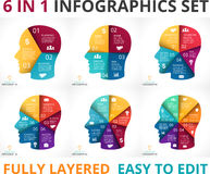 Vector human face infographic. Cycle brainstorming Stock Photography