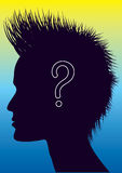 Vector human head with question mark. Royalty Free Stock Image