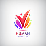 Vector human logo, group of people colorful icon, teamwork stock illustration