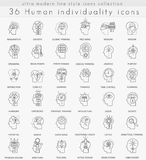 Vector Human mentality personality and individuality features ultra modern outline line icons. For web and apps vector illustration