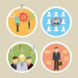 Vector human resources icons. Selecting business professionals and personnel Royalty Free Stock Photo