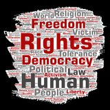 Vector human rights political freedom, democracy. Vector conceptual human rights political freedom, democracy paint brush paper word cloud background. Collage of royalty free illustration