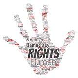 Vector human rights political freedom, democracy. Vector conceptual human rights political freedom, democracy hand print stamp word cloud isolated background Royalty Free Stock Image