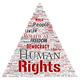 Vector human rights political freedom, democracy. Vector conceptual human rights political freedom, democracy triangle arrow  word cloud isolated background Royalty Free Stock Image