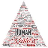 Vector human rights political freedom, democracy. Vector conceptual human rights political freedom, democracy triangle arrow  word cloud isolated background Royalty Free Stock Photos