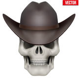 Vector Human skull with cowboy hat on head Royalty Free Stock Photos