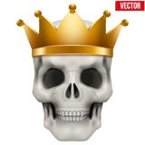 Vector Human skull with king gold crown Stock Images
