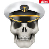 Vector Human skull with sea captain cap on head Stock Image