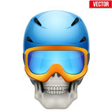 Vector Human skull with snowboard helmet Stock Photos