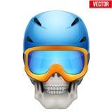 Vector Human skull with snowboard helmet Stock Photos