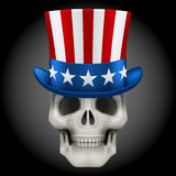 Vector Human skull with Uncle Sam hat on head Stock Photo