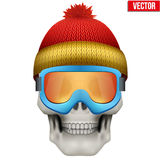 Vector Human skull with winter hat and goggles Stock Photos