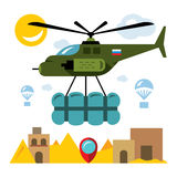 Vector Humanitarian aid in a war zone. Flat style colorful Cartoon illustration. Royalty Free Stock Photos