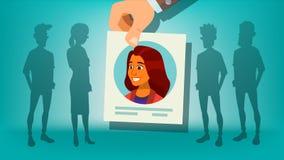 Vector humano del reclutamiento Mujer Mujer de la cosecha de la mano Destaqúese de la muchedumbre Personas del asunto Persona del libre illustration