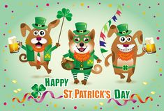 Humorous greeting card for St. Patrick`s Day with three funny do. Vector humorous greeting card to St. Patrick`s Day with three funny dogs in green hats, walking Stock Photography