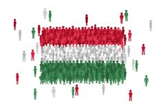 Vector Hungary state flag formed by crowd of cartoon people stock illustration