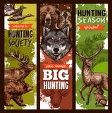 Vector hunt club hunting sketch banners. Hunt club sketch banners for hunting open season. Vector design of hunter prey wild animals forest grizzly bear vector illustration