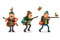 Vector hunter with gun. Weapon and shotgun, hunting sport, duck and shooter royalty free illustration