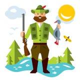 Vector Hunting ducks. Flat style colorful Cartoon illustration. vector illustration