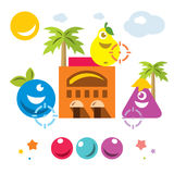 Vector Hunting for virtual creatures concept. Abstract mobile game. Flat style colorful Cartoon illustration. Stock Image