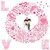 Vector huwelijkskaart Stock Foto's