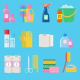 Vector hygiene and cleaning products flat icons. Stock Images